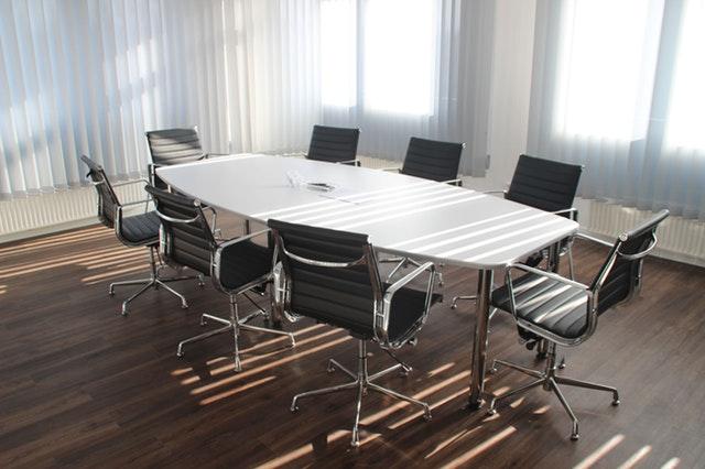 Daylight seeping in boardroom