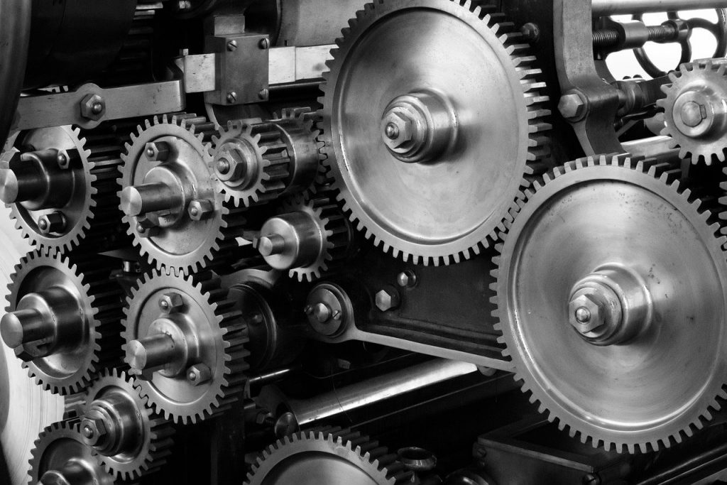 Gears and screws in factory